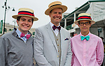 LOUISVILLE, KY - MAY 05: Three spectators wear matching hats and fancy bowties on Kentucky Derby Day at Churchill Downs on May 5, 2018 in Louisville, Kentucky. (Photo by Scott Serio/Eclipse Sportswire/Getty Images)