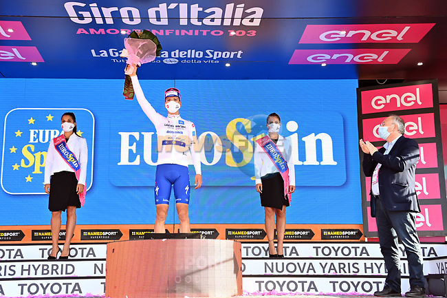 Race leader Joao Almeida (POR) Deceuninck-Quick Step also retains the young riders Maglia Bianca at the end of Stage 7 of the 103rd edition of the Giro d'Italia 2020 running 143km from Matera to Brindisi, Sicily, Italy. 9th October 2020.  <br /> Picture: LaPresse/Gian Mattia D'Alberto | Cyclefile<br /> <br /> All photos usage must carry mandatory copyright credit (© Cyclefile | LaPresse/Gian Mattia D'Alberto)