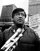 Cesar Chavez, Mexican American labor leader who co founded the United Farmworkers organizing nonviolently for migrant worker rights speaks in Boston MA about support for the lettuce boiycott, 1979