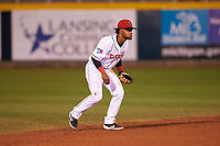 Lansing Lugnuts shortstop Otto Lopez (2) during a Midwest League game against the Wisconsin Timber Rattlers at Cooley Law School Stadium on May 1, 2019 in Lansing, Michigan. Wisconsin defeated Lansing 2-1 in the second game of a doubleheader. (Zachary Lucy/Four Seam Images)