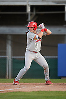 Johnson City Cardinals catcher Zach Jackson (15) at bat during the first game of a doubleheader against the Princeton Rays on August 17, 2018 at Hunnicutt Field in Princeton, Virginia.  Johnson City defeated Princeton 6-4.  (Mike Janes/Four Seam Images)