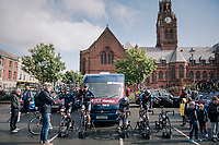 Team JLT-Condor warming up pre-race<br /> <br /> Stage 6: Barrow-in-Furness to Whinlatter Pass   (168km)<br /> 15th Ovo Energy Tour of Britain 2018