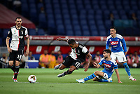 Juventus' Alex Sandro, second from left, is tackled by Napoli's Dries Mertens, second from right, past Juventus' Leonardo Bonucci, left, and Jose Callejon, during the Italian Cup football final match between Napoli and Juventus at Rome's Olympic stadium, June 17, 2020. Napoli won 4-2 at the end of a penalty shootout following a scoreless draw.<br /> UPDATE IMAGES PRESS/Isabella Bonotto