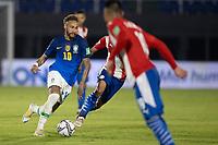 8th June 2021; Defensores del Chaco Stadium, Asuncion, Paraguay; World Cup football 2022 qualifiers; Paraguay versus Brazil;   Neymar of Brazil breaks through the Paraguay defense