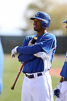 Alcides Escobar #2 of the Kansas City Royals participates in spring training workouts at the Royals complex on February 21, 2011  in Surprise, Arizona. .Photo by:  Bill Mitchell/Four Seam Images.