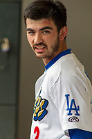 Rancho Cucamonga Quakes Connor Wong (33) in the dugout during the game against the Modesto Nuts at LoanMart Field on May 2, 2018 in Rancho Cucamonga, California. The Nuts defeated the Quakes 11-4.  (Donn Parris/Four Seam Images)