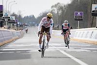 Jasper Stuyven (BEL/Trek-Segafredo) finishing 4th behind Greg Van Avermaet (BEL/AG2R Citroën)<br /> <br /> 105th Ronde van Vlaanderen 2021 (MEN1.UWT)<br /> <br /> 1 day race from Antwerp to Oudenaarde (BEL/264km) <br /> <br /> ©kramon