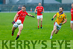East Kerry's Darragh Roche gets the ball away ahead of Feale Ranger's Thomas Scanlon in their County Championship meeting held in Sheehy Park, Listowel on Saturday evening last.
