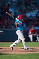 Spokane Indians left fielder Tanner Gardner (44) follows through on his swing during a Northwest League game against the Vancouver Canadians at Avista Stadium on September 2, 2018 in Spokane, Washington. The Spokane Indians defeated the Vancouver Canadians by a score of 3-1. (Zachary Lucy/Four Seam Images)