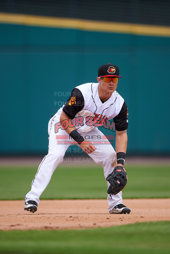 Rochester Red Wings third baseman Tommy Field (59) during a game against the Toledo Mudhens on June 12, 2016 at Frontier Field in Rochester, New York.  Rochester defeated Toledo 9-7.  (Mike Janes/Four Seam Images)