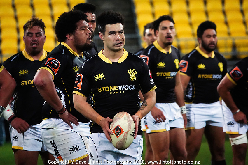 Jackson Garden-Bachop prepares to kick for touch during the Mitre 10 Cup rugby match between Wellington Lions and  Bay Of Plenty Steamers at Sky Stadium in Wellington, New Zealand on Friday, 25 September 2020. Photo: Dave Lintott / lintottphoto.co.nz