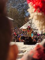 Bär und Bärentreiber beim Kampf Frühling gegen Winter beim Nassereither Schellerlauf, Fasnacht in Nassereith, Bezirk Imst, Tirol, Österreich, Europa, immaterielles UNESCO Weltkulturerbe<br /> bear and drover at fight winter against spring, , Nassereither Schellerlauf-Fasnacht, Nassereith, Tyrol, Austria Europe, Intangible World Heritage