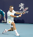 March 28, 2019: Roger Federer (SUI) defeated Kevin Anderson (RSA) 6-0, 6-4, at the Miami Open being played at Hard Rock Stadium in Miami, Florida. ©Karla Kinne/Tennisclix 2010/CSM