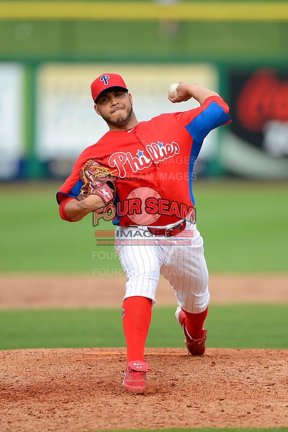 Philadelphia Phillies pitcher Cesar Jimenez #76 during a Spring Training game against the New York Yankees at Bright House Field on February 26, 2013 in Clearwater, Florida.  Philadelphia defeated New York 4-3.  (Mike Janes/Four Seam Images)