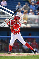 Batavia Muckdogs catcher Brad Haynal (16) at bat during a game against the Mahoning Valley Scrappers on August 24, 2014 at Dwyer Stadium in Batavia, New York.  Mahoning Valley defeated Batavia 7-6.  (Mike Janes/Four Seam Images)