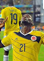 CUIABA - BRASIL -24-06-2014. Jackson Martinez (#21) jugador de Colombia (COL) celebra un gol anotado a Japón (JPN) durante partido del Grupo C de la Copa Mundial de la FIFA Brasil 2014 jugado en el estadio Arena Pantanal de Cuiaba./ Jackson Martinez (#21) player of Colombia (COL) celebrates a goal scored to Japan (JPN) during the macth of the Group C of the 2014 FIFA World Cup Brazil played at Arena Pantanal stadium in Cuiaba. Photo: VizzorImage / Alfredo Gutiérrez / Contribuidor