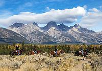 A horseback riding tour in the Grand Tetons.