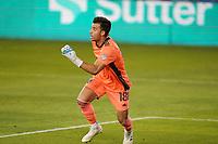 SAN JOSE, CA - OCTOBER 03: San Jose Earthquakes goalkeeper JT Marcinkowski #18 during a game between Los Angeles Galaxy and San Jose Earthquakes at Earthquakes Stadium on October 03, 2020 in San Jose, California.