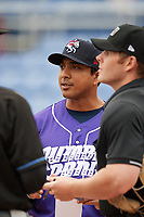 Binghamton Rumble Ponies manager Luis Rojas (19) during the lineup exchange before a game against the Akron RubberDucks on May 12, 2017 at NYSEG Stadium in Binghamton, New York.  Akron defeated Binghamton 5-1.  (Mike Janes/Four Seam Images)