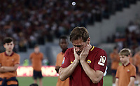Calcio, Serie A: Roma, stadio Olimpico, 28 maggio 2017.<br /> AS Roma's Francesco Totti reacts during a ceremony to celebrate his last match with AS Roma after the Italian Serie A football match between AS Roma and Genoa at Rome's Olympic stadium, May 28, 2017.<br /> Francesco Totti's final match with Roma after a 25-season career with his hometown club.<br /> UPDATE IMAGES PRESS/Isabella Bonotto