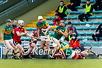 Micheal  Leane, Kerry in action against Donal Hughes, Down during the National hurling league between Kerry v Down at Austin Stack Park, Tralee on Sunday.