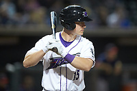 Nate Nolan (15) of the Winston-Salem Dash at bat against the Salem Red Sox at BB&T Ballpark on April 20, 2018 in Winston-Salem, North Carolina.  The Red Sox defeated the Dash 10-3.  (Brian Westerholt/Four Seam Images)