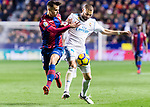 Karim Benzema of Real Madrid (R) fights for the ball with Roberto Suarez Pier, Rober, of Levante UD (L) during the La Liga 2017-18 match between Levante UD and Real Madrid at Estadio Ciutat de Valencia on 03 February 2018 in Valencia, Spain. Photo by Maria Jose Segovia Carmona / Power Sport Images