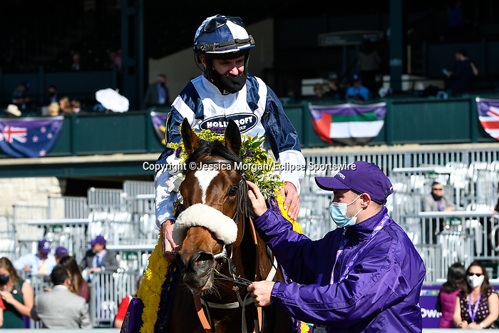 November 7, 2020 : Glass Slippers, ridden by Tom Eaves, wins the Turf Sprint on Breeders' Cup Championship Saturday at Keeneland Race Course in Lexington, Kentucky on November 7, 2020. Jessica Morgan/Breeders' Cup/Eclipse Sportswire/CSM