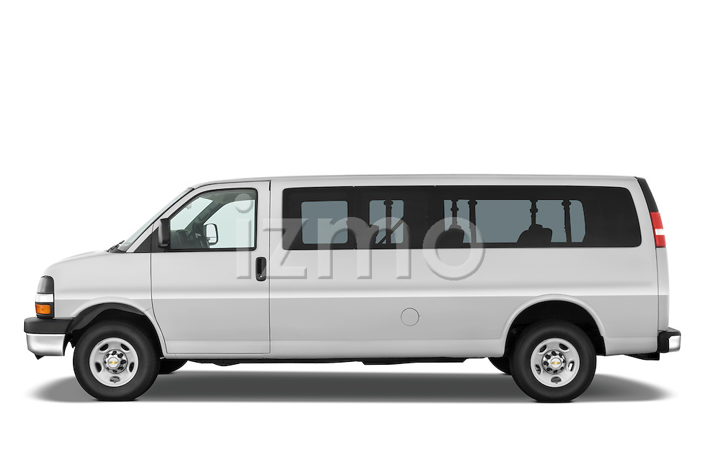 Driver side profile view of a 2008 Chevrolet Express 3500 passenger van.