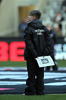Pictured: A young boy holds a Gary Speed tribute on the pitch before kick-off. Saturday 17 December 2011<br /> Re: Premier League, Newcastle United FC v Swansea City FC at St James' Park, Newcastle Upon Tyne.