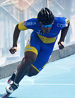 BARRANQUILLA - COLOMBIA, 21-07-2018: Edwin Estrada, Colombia, durante su participación en la categoría de patinaje de Velocidad como parte de los Juegos Centroamericanos y del Caribe Barranquilla 2018. /  Edwin Estrada, Colombia, during his participation in the speed skatingcategory of the Central American and Caribbean Sports Games Barranquilla 2018. Photo: VizzorImage / Alfonso Cervantes / Cont