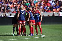 Houston, TX - Sunday Oct. 09, 2016: Washington Spirit huddle prior to a National Women's Soccer League (NWSL) Championship match between the Washington Spirit and the Western New York Flash at BBVA Compass Stadium.