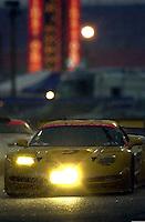The #2 Corvette leads a GT1 Porsche into the east horseshoe during an early morning rainstorm..39th Rolex 24 at Daytona, 3/4 February,2001 Daytona International Speedway  Daytona Beach,Florida,USA.©F.Peirce Williams 2001 ..
