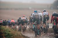 3rd October 2021, Paris–Roubaix Mens Cycling tour;  The peloton  during the Paris–Roubaix which is famous for its uneven cobblestone course.