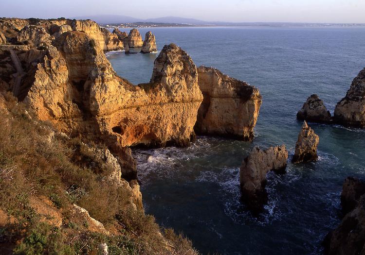 Europe, PRT, Portugal, Algarve, Lagos, Natural monument Ponta da Piedade, Rocky coast