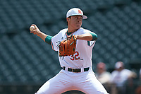 Miami Hurricanes starting pitcher Evan McKendry (32) in action against the Georgia Tech Yellow Jackets during game one of the 2017 ACC Baseball Championship at Louisville Slugger Field on May 23, 2017 in Louisville, Kentucky. The Hurricanes walked-off the Yellow Jackets 6-5 in 13 innings. (Brian Westerholt/Four Seam Images)