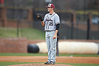North Carolina Central Eagles starting pitcher Landon Fraley (25) looks to his catcher for the sign against the High Point Panthers at Williard Stadium on February 28, 2017 in High Point, North Carolina. The Eagles defeated the Panthers 11-5. (Brian Westerholt/Four Seam Images)