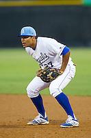 Burlington Royals first baseman Josh Banuelos (27) on defense against the Princeton Rays at Burlington Athletic Park on July 9, 2014 in Burlington, North Carolina.  The Rays defeated the Royals 3-0.  (Brian Westerholt/Four Seam Images)