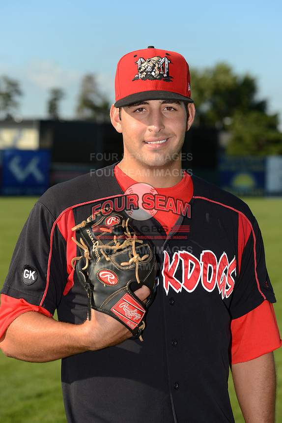Batavia Muckdogs pitcher Sean Townsley (34) poses for a photo before a game against the Williamsport Crosscutters on September 4, 2013 at Dwyer Stadium in Batavia, New York.  Williamsport defeated Batavia 6-3 in both teams season finale.  (Mike Janes/Four Seam Images)