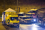 © Joel Goodman - 07973 332324 . 03/01/2017. Huddersfield, UK. The scene of a bullet riddled white Audi car at the slip road at Junction 24 of the M62 motorway in Huddersfield . West Yorkshire police have announced a man has died following the discharge of a police firearm , during what they describe as a pre-planned operation , yesterday evening (2nd January 2017) . Photo credit : Joel Goodman