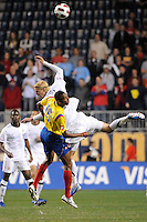 Jhon Viafara (15) of Colombia (COL) and Brek Shea (23) of the United States (USA) go for a header. The men's national teams of the United States (USA) and Colombia (COL) played to a 0-0 tie during an international friendly at PPL Park in Chester, PA, on October 12, 2010.