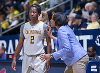 Afure Jemerigbe of California listens to Charmin Smith against Oregon at Haas Pavilion in Berkeley, California on January 5th, 2014. California defeated Oregon
