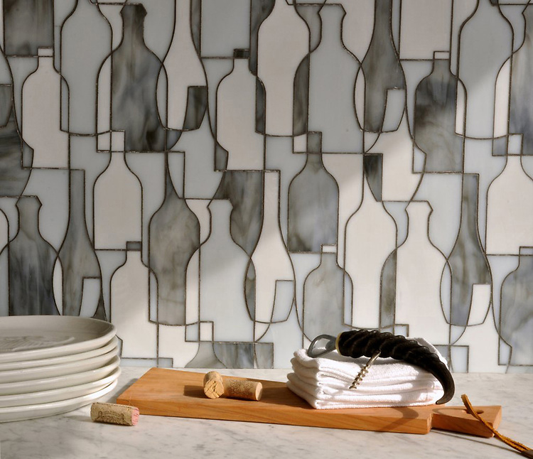 Bottles, a handmade mosaic shown in Moonstone, Opal and Tourmaline jewel glass, is part of the Erin Adams Collection for New Ravenna.