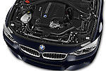 Car Stock 2017 BMW 4-Series 440i-Gran-Coupe 5 Door Hatchback Engine  high angle detail view
