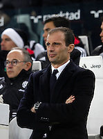 Juventus coach Massimiliano Allegri waits for the start of the Italian Serie A football match between Juventus and Roma at Juventus Stadium.