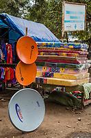 Tanzania.  Mto wa Mbu. Satellite Dishes for Sale in the Market.