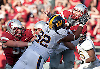 Trevor Guyton puts pressure on quarterback Jeff Tuel. The University of California football defeated Washington State University 20-13 at Martin Stadium in Pullman, Washington on November 6th, 2010.
