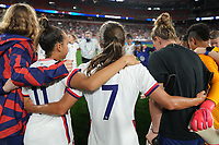 CLEVELAND, OH - SEPTEMBER 16: USWNT huddle celebration after a game between Paraguay and USWNT at FirstEnergy Stadium on September 16, 2021 in Cleveland, Ohio.