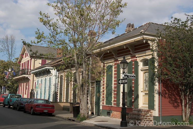 The residential end of Bourbon Street in the French Quarter, New Orleans, LA - April 2006