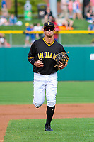 Indianapolis Indians second baseman Kevin Kramer (17) jogs to the dugout between innings during an International League game against the Buffalo Bisons on July 28, 2018 at Victory Field in Indianapolis, Indiana. Indianapolis defeated Buffalo 6-4. (Brad Krause/Four Seam Images)